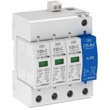 5094765 Разрядник для защиты от перенапряжений 3-полюсный + NPE, с дистанционной сигнализацией V20-C