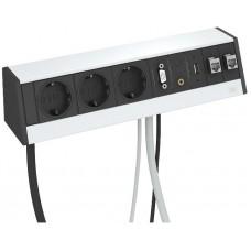 6116963 Розеточный блок с 3 розетками с з/к, 2 розетками RJ45 cat6, разьемами USB, VGA и аудио