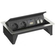 6116810 Розеточный блок с крышкой с 3 розетками с з/к, 2 розетками RJ45 cat6 и разъемом HDMI