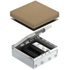 7427308 Лючок UDHome9 с модульной рамкой MT4 и 4 розетками с з/к, из нержавеющей стали