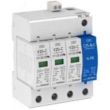 5094931 Разрядник для защиты от перенапряжений 3-полюсный + NPE, с дистанционной сигнализацией V10-C