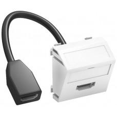 6104838 Розетка HDMI 45x45 с кабелем подключения, угловая